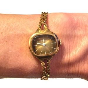 70's Hamilton Brown Face Gold Tone Bracelet Watch